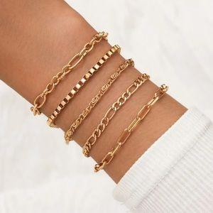 5 Piece Chain Bracelet Set